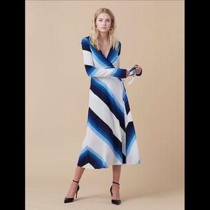 Diane von Furstenberg  White/Blue Silk Wrap Dress